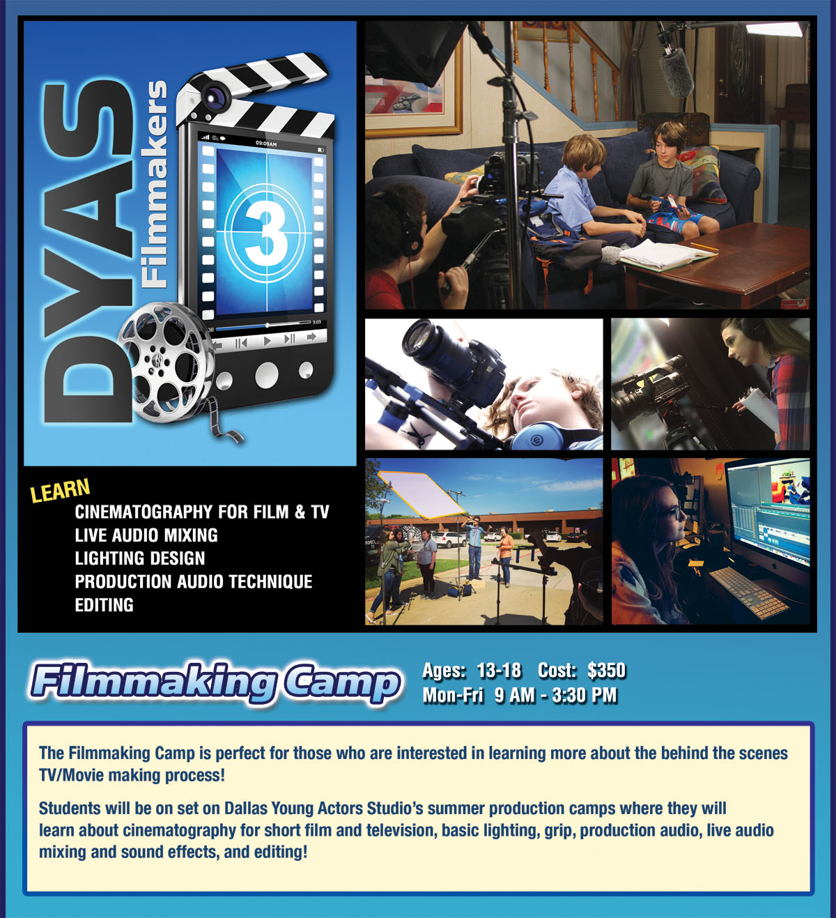 Dallas Young Actors Studio Summer Filmmaking Camp for Teens Dallas Texas