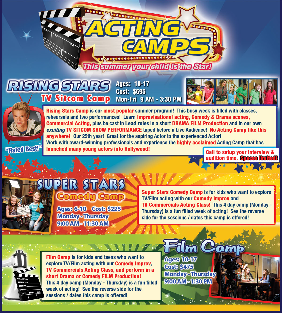 Dallas Young Actors Studio Summer Acting Camps for Kids and teens in Dallas Texas